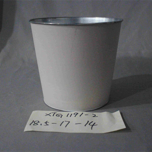 white zinc flower pot