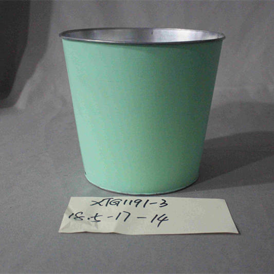 green zinc flower pot