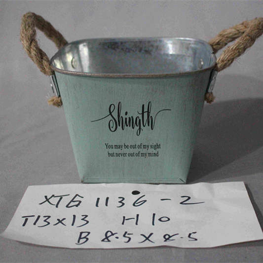 small green square zinc pot with handle