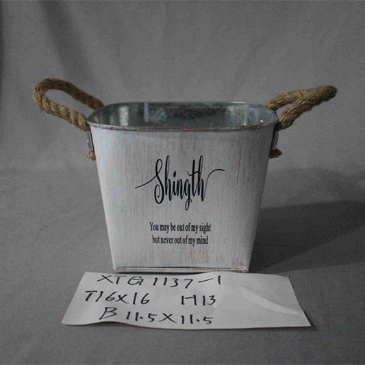 large white square zinc pot with handle