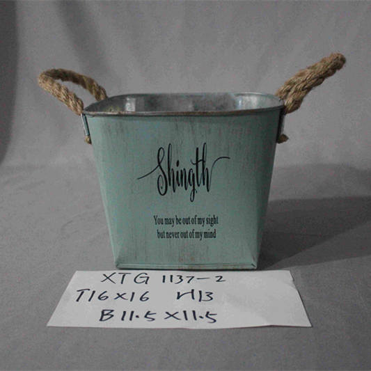 large green square zinc pot with handle