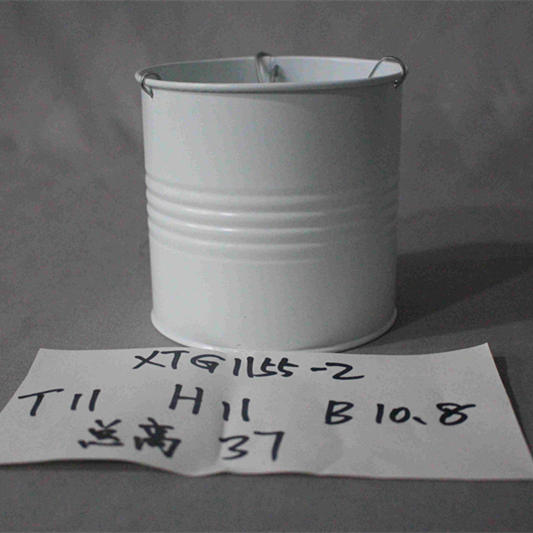 small white zinc bucket with chains