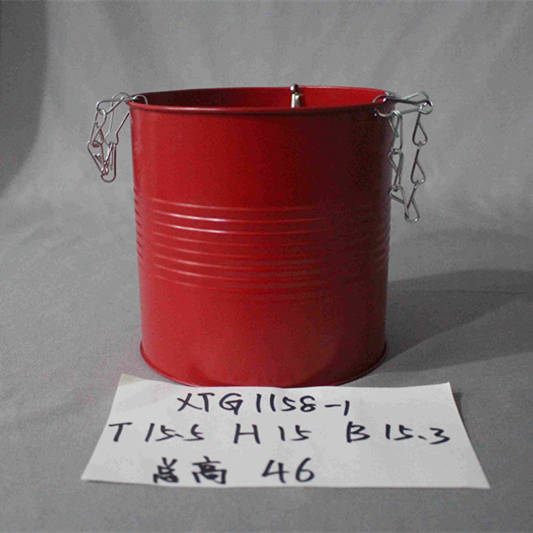 XL red zinc bucket with chains