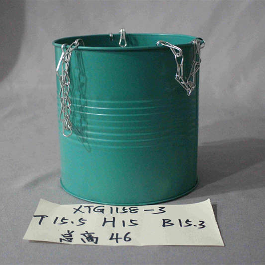 XL green zinc bucket with chains