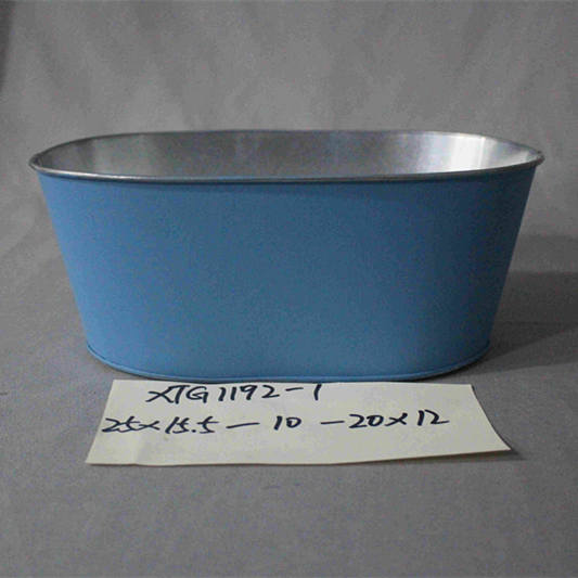 small blue painted oval zinc pot