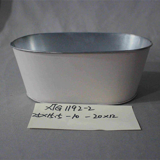 small white painted oval zinc pot