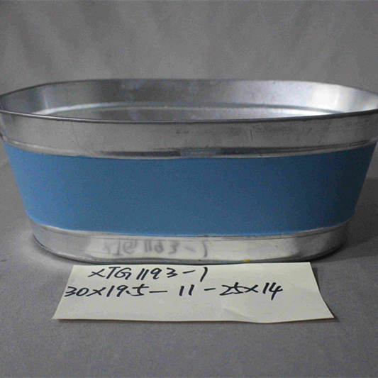 large blue painted oval zinc pot