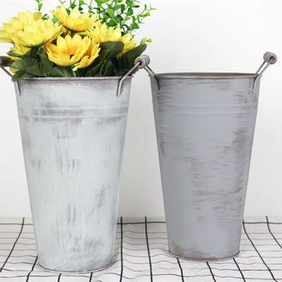 Nordic simple flower Pail, water color zinc bucket with two handles