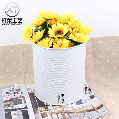 Simple modern zinc flowerpot white home decoration props flower art collection