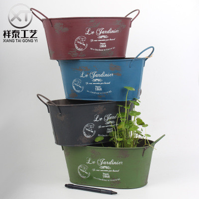 Vintage wrought zinc flowerpots in four colors with two handles