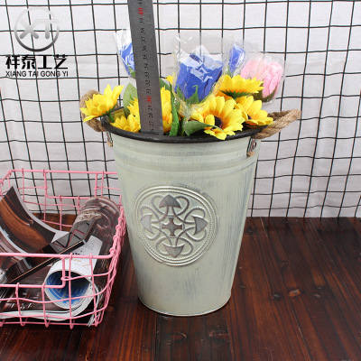antique zinc bucket with two rope handles